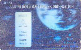 Télécarte Japon HOLO 3 D - MONNAIE - LINGOT D´OR & Globe Map - MONEY GOLD & Map Japan Phonecard Bank Note Space  COIN 98 - Timbres & Monnaies