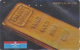 RARE Télécarte Dorée Japon - MONNAIE - LINGOT D´OR / CREDIT SUISSE - MONEY GOLD INGOT Japan Phonecard SCHWEIZ - COIN 99 - Timbres & Monnaies