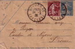 VAUCLUSE - PUYMERAS - 24-5-1926 - ENTIER POSTAL SEMEUSE + COMPLEMENT SEMEUSE. - Postmark Collection (Covers)