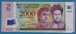 PARAGUAY 2000 Guaraníes  2008  Serie A02647374  P# 228a  POLYMER - Paraguay