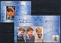 D0038 NEVIS 2003,  Prince William´s 21st Birthday, 2 @ MNH M-sheets - St.Kitts And Nevis ( 1983-...)