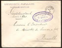 UNIVERSITE POPULAIRE Brief Met Griffe FAYT-LEZ-MANAGE Met Afstempeling MANAGE + CENSUUR ! - WW I