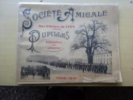MILITARIA MILITAIRE SOCIETE AMICALE DES OFFICIERS DE LYON  PUPILLES INFANTERIE CAVALERIE 1909 -1910 ALBUM PHOTOGRAPHIES - Documents