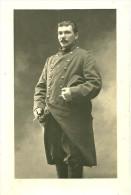 A Identifier. Cpa Photo D´un Soldat Aux Moustaches En Guidon De Vélo. - A Identifier