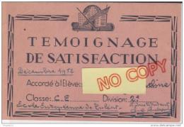 Au Plus Rapide Témoignage De Satisfaction Bon Point Madagascar Tuléar Décembre 1952 - Diplômes & Bulletins Scolaires