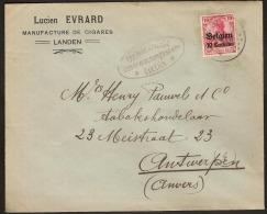 Brief  / Envelope Met Afstempeling Van LANDEN + CENSURE LUTTICH (staat Zie Scan) ! Inzet Aan 15 € ! - [OC1/25] Gen.reg.