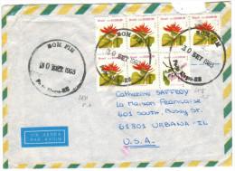 BRASILE - BRASIL - 1993 - Via Aerea - Par Avion - Air Mail - 7 Stamps - Viaggiata Da Porto Alegre Per Urbana, USA - Covers & Documents