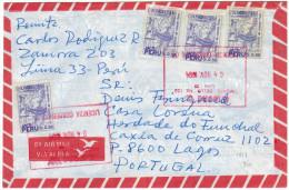 PERU - PEROU - 1994 - Air Mail - 4 X 0,50 - Viaggiata Da Lima Per Lagos, Portugal - Perù