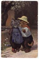 AK Künstler Arthur Thiele - Katzen - Das Geheimnis - - Thiele, Arthur