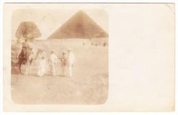 AK Ägypten Gizeh - Sphinx Pyramide Belebt - Seltene Foto Karte Ges 30.12.1908 Nach München - Gizeh