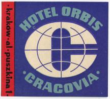 ETICHETTA PUBBLICITà ALBERGO HOTEL ORBIS CRACOVIA KRAKOW POLONIA LUGGAGE LABEL - Hotel Labels