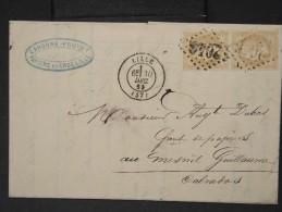 FRANCE- N° 28B Obl  Gc  2046  En  1869  Sur Enveloppe (facture) De Lille Pour Mesnil Guillaume   Lot P4348 - 1849-1876: Période Classique