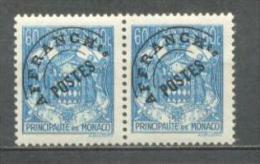 1943 MONACO PRECANCEL 60C. COAT OF ARMS MICHEL: 226 PAIR MNH ** - Monaco