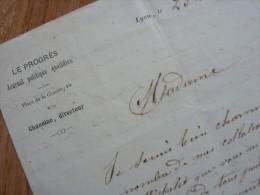 Jean François CHANOINE (1807-1864) Fondateur LE PROGRES De LYON - AUTOGRAPHE - Autographs