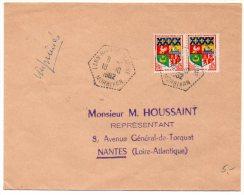 Blason Oran X2 Sur Lettre Imprimés De 1962  - CaD Hexagonal Tireté ´Lann Bihoué Marine Morbihan´ - Marcophilie (Lettres)