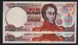 VENEZUELA  LOT 2x 5000 Bolívares  06.08.1998  Serie F  P# 78c  UNC  Simón Bolívar   SUBSEQUENT No - Venezuela