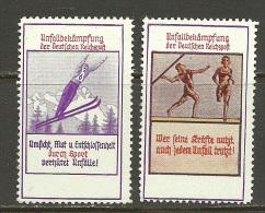 Werbemarken Unfallbekämpfung Der Deutschen Reichsport MNH - Allemagne