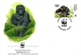CONGO FDC ANIMAL ANIMALS GORILLA WWF PANDA EMBLEM OFF SET OF 4 STAMPS 190F DATED 30-08-2002 CTO SG? READ DESCRIPTION !! - Democratische Republiek Congo (1997 - ...)