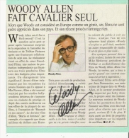 WOODY ALLEN (1935 NEW YORK.) REALISATEUR SCENARISTE HUMORISTE AMERICAIN AUTOGRAPHE SUR ARTICLE DE JOURNAL - Autografi