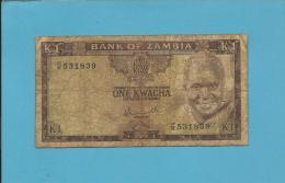 ZAMBIA - 1 KWACHA - ND ( 1976 ) - Pick 19.a - Sign. 5 - President K. KAUNDA - 2 Scans - Zambie