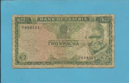 ZAMBIA - 2 KWACHA - ND ( 1974 ) - Pick 20.a - Sign. 4 - President K. KAUNDA - 2 Scans - Zambia