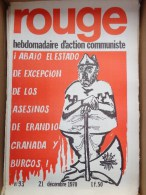 HEBDOMADAIRE ACTION  COMMUNISTE - ROUGE- N� 93- 21 DECEMBRE 1970- GRANADA  BURGOS