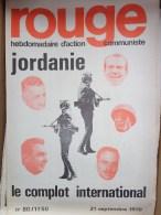 HEBDOMADAIRE ACTION  COMMUNISTE - ROUGE- N� 80- 21 -9-1970-JORDANIE LE COMPLOT INTERNATIONAL-HUSSEIN-DAYAN-NASSER-NIXON