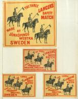 3+1 Alte Zündholzetiketten Aus Schweden, THE THREE LANCERS. - Luciferdozen - Etiketten
