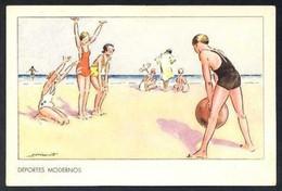 Ilustrador No Descifrado *Deportes Modernos* Col. Hemostyl - Hepamoxyl. Lit. Cromo, Madrid. Nueva. - Postales