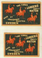 2 Alte Große Zündholzetiketten Aus Schweden, THE THREE LANCERS. - Luciferdozen - Etiketten