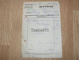 Saarbrücker Kaffee Import Saarbrücken Auftrag 1950 Rechnung Germany - Germania