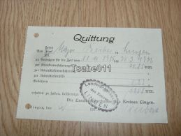 Landkrankenkasse Lingen Quittung 1936 Germany - Germania