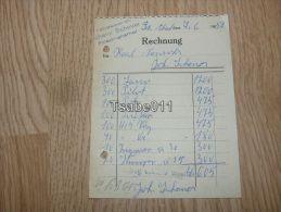 Tabakwaren Johann Scheuer Friedrichsthal 1952 Rechnung Germany - Germania