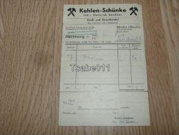 Kohlen Schünke Minden 1952 Rechnung Germany - Germania