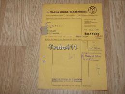 H. Maas & Söhne Saarbrücken Papierwarenfabrik Druckerei Dudweiler Rechnung 1948 Germany - Germania