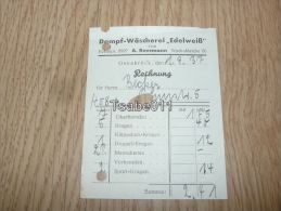 Dampf Wascherei Edelweiss A. Rensmann Osnabrück Rechnung 1937 Germany - Germania