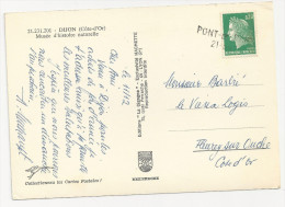 Griffe Linéaire PONT DE PANY Côte D'Or Sur Marianne De Cheffer - Marcophilie (Lettres)