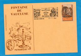 """Vignette """"Fontaine  De Vaucluse"""" Sur Cpa Illustrée -Pétrarque+ Muse+oblitération +flamme Grand Site  National -1986 - Commemorative Labels"""