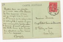 CAD Convoyeur 1927 Dieppe à Rouen Seine Maritime Sur Semeuse 50c - Marcophilie (Lettres)