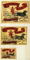 1+2 Alte Zündholzetiketten Aus Schweden, IMPREGNATED GOBLIN. - Luciferdozen - Etiketten