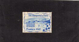 """Vignette """" XXI ° Championnat De Françe """" Jeu De Boules - Cannes 1947-vignette RARE  Neuve Gomme*-ch - Commemorative Labels"""