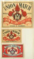 2+1 Alte Zündholzetiketten Aus Schweden, UNION MATCH, TROIS TORCHES. - Luciferdozen - Etiketten