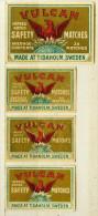 4 Kleine Alte Zündholzetiketten Aus Schweden, VULCAN MATCHES, MADE AT TIDAHOLM - Luciferdozen - Etiketten