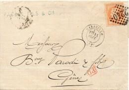 FRANCE LETTRE DE MARSEILLE POUR L'ITALIE 1872 - Postmark Collection (Covers)