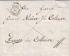 France Alsace Elsass PORT PAYE 66 D' HUNINGUE Sur Lettre Avec Texte Daté Pour Colmar 1810 (n2) - Alsace Lorraine