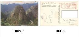 CARTOLINA COLORI PERU' - MACHUPICCHU VIAGGIATA 1989 VERSO MILANO– INDIRIZZO OSCURATO PER PRIVACY DIMENSIONI CM 10,3x14,7 - Perù