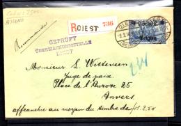 2F50  Lettre Recommandée Censurée De Diest Vers Anvers, OC 8 - Guerre 14-18