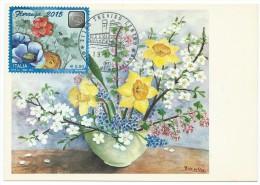 Italia /Italy 2015; Floranga Su Cartolina Con Vaso Di Fiori Dipinto Da Pittore Che Usa La Bocca. E' Maximum Card E FDC - Flora