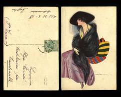 Cartolina Illustrata - Nanni - Donna Lady - Art Deco - Vittorio Emanuele III Leoni - 1918 - Viagg - Nanni