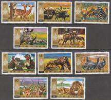 RWANDA 1972 - Faune Africaine, Rhino, Zebres, Lions, I�nes, Hipo - 10 val Neuf // Mnh
